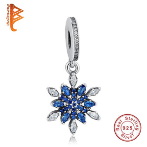 Blue Crystal Snowflake Flower Dangle 925 Sterling Silver Charm - The Luffy Store