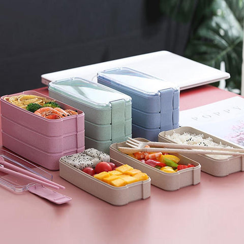 900 ML 3 Layers Microwavable Japanese Bento Box - The Luffy Store
