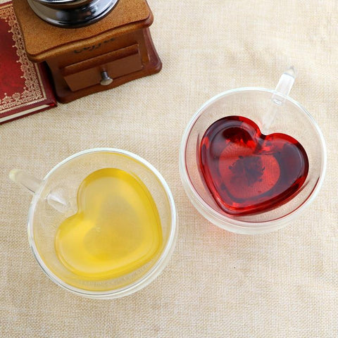 Heart Shaped Double Wall Heat Resistant Glass - The Luffy Store