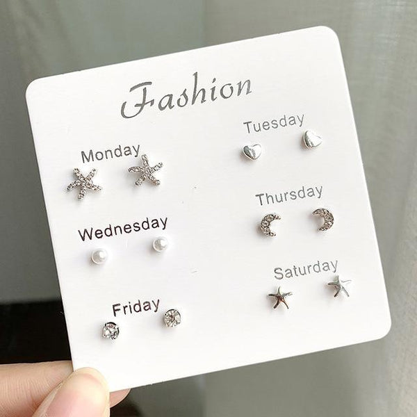 Assorted 6- Pairs of Stud Earrings Set - The Luffy Store