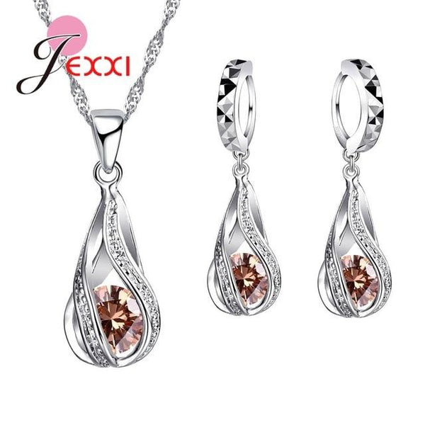 Assorted Water Drop 925 Sterling Silver Jewellery Set - The Luffy Store