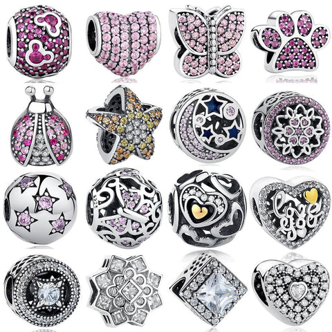 Assorted Crystal Love 925 Sterling Silver Charms - The Luffy Store