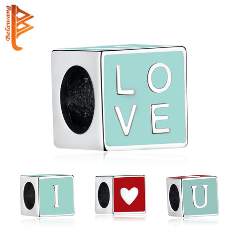 Square Enamel I Love You 925 Sterling Silver Charm