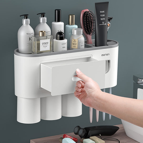 Menon Toothpaste Dispenser with storage rack