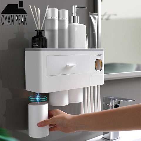 Toothpaste Dispenser with Storage Rack