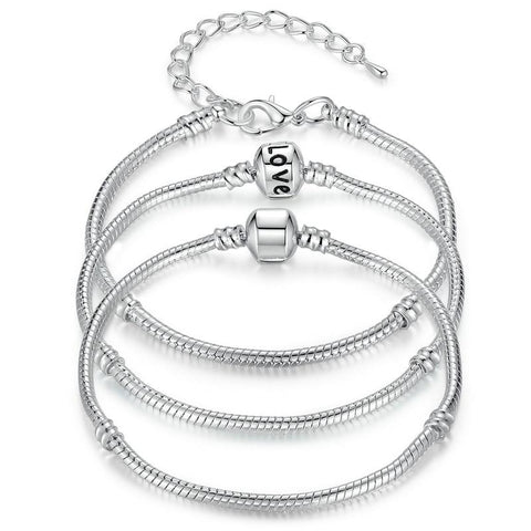 925 Sterling Silver Snake Chain Charm Bracelet - The Luffy Store
