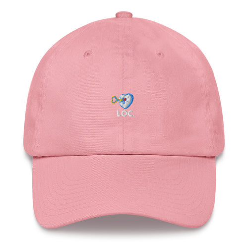 V DAY DROP WHITE AND BLUE DAD HAT - PINK