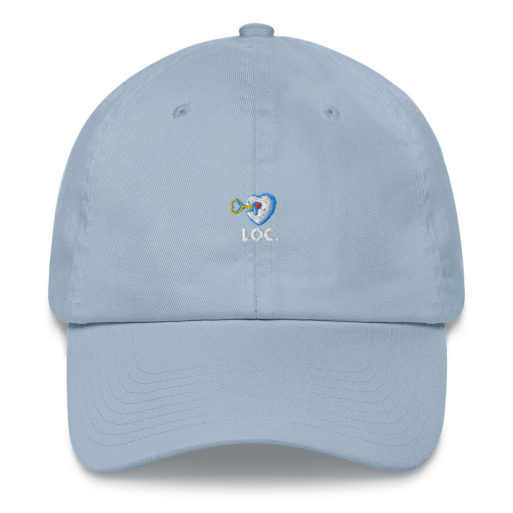 V DAY DROP WHITE AND BLUE DAD HAT - BLUE