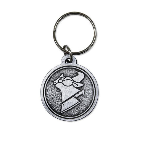 Cow Chop Logo Embossed Metal Keychain