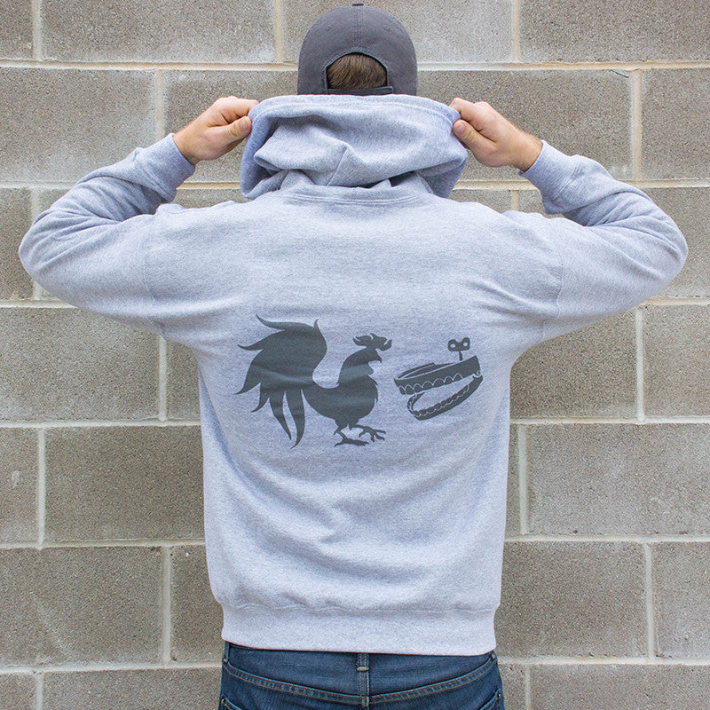 Rooster Teeth Grey Logo Zip Hoodie
