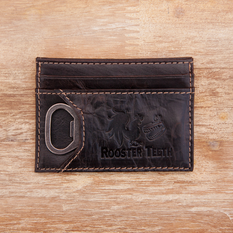 Rooster Teeth Leather Card Case w/Bottle Opener