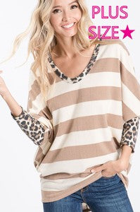 Top, Plus Size Stripes with Leopard Detail