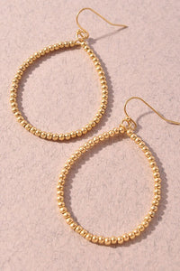 Beaded teardrop gold earrings