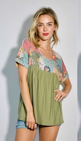 Top solid & olive print v neck baby doll