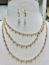 Load image into Gallery viewer, Long Crystal Chain Necklace Set-Beige