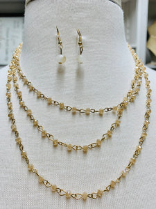 Long Crystal Chain Necklace Set-Beige