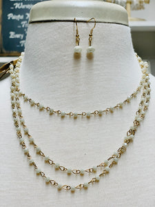 Long Crystal Chain Necklace Set-Ivory