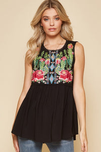 Top Sleeveless Embroidery Baby Doll