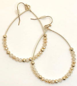 Cream Crystal Teardrop Earrings