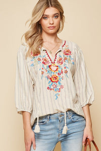 Top Beige Tassel Tie Embroidered