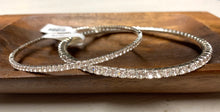 Load image into Gallery viewer, Bangle Bracelet Lg. Crystals- Silver