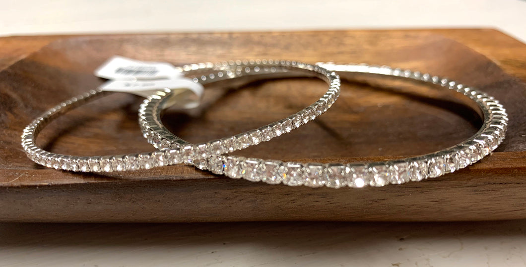 Bangle Bracelet Lg. Crystals- Silver