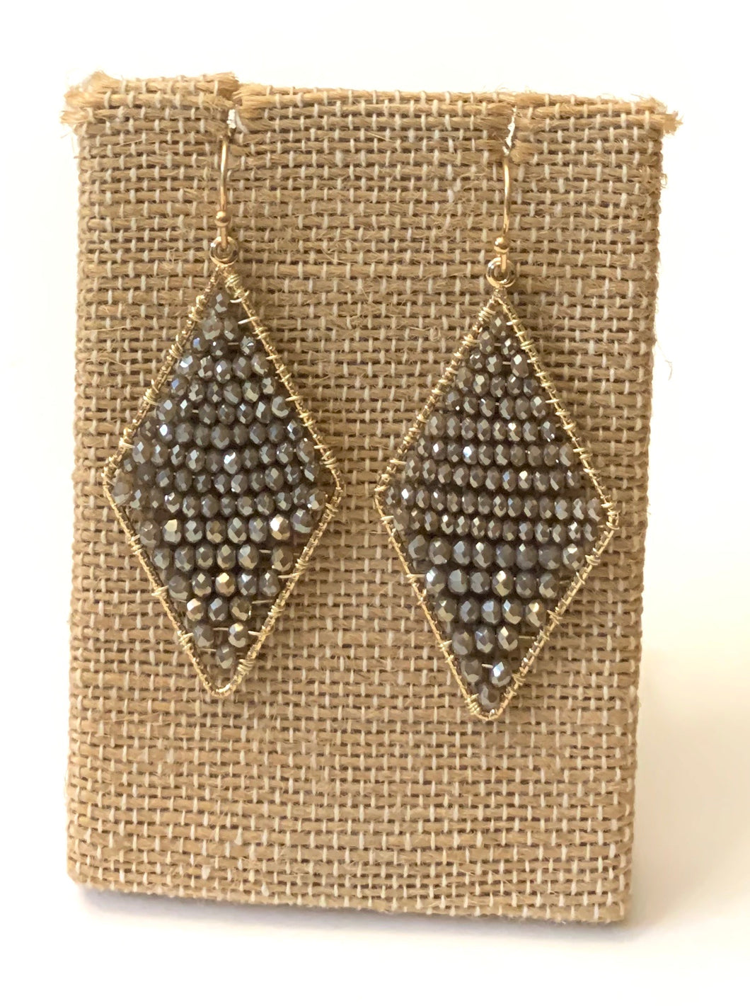 Diamond Shape Mixed Metal Earringa