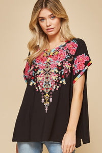 Top, Plus Size Embroidered