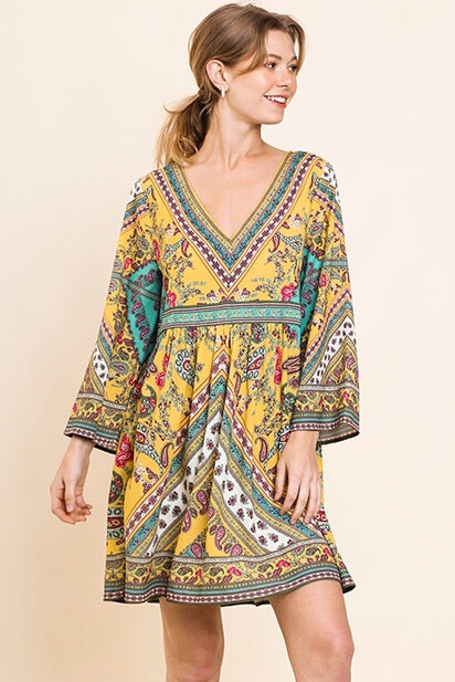 Yellow Mix Print Dress
