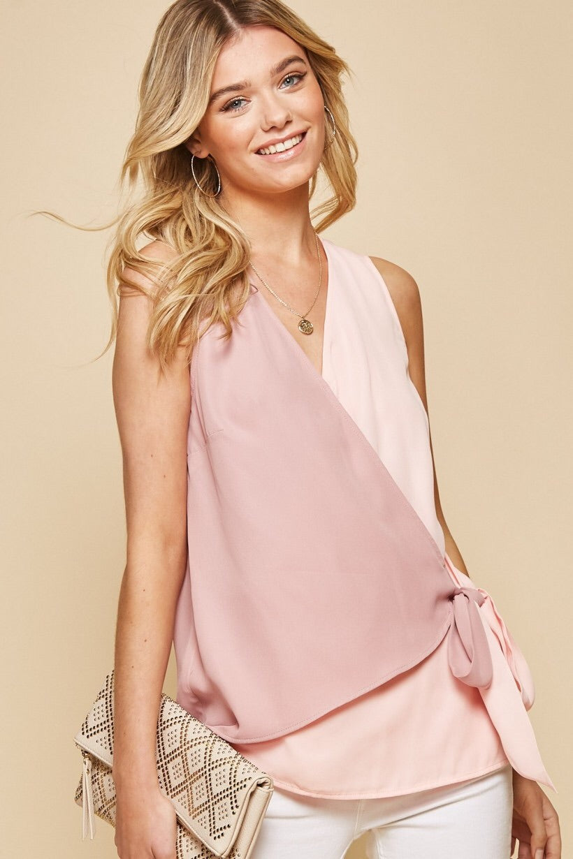Blush Wraparound Top