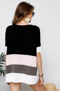 Top, Color block black/pink/coco/ivory