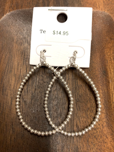 Beaded teardrop earrings silver