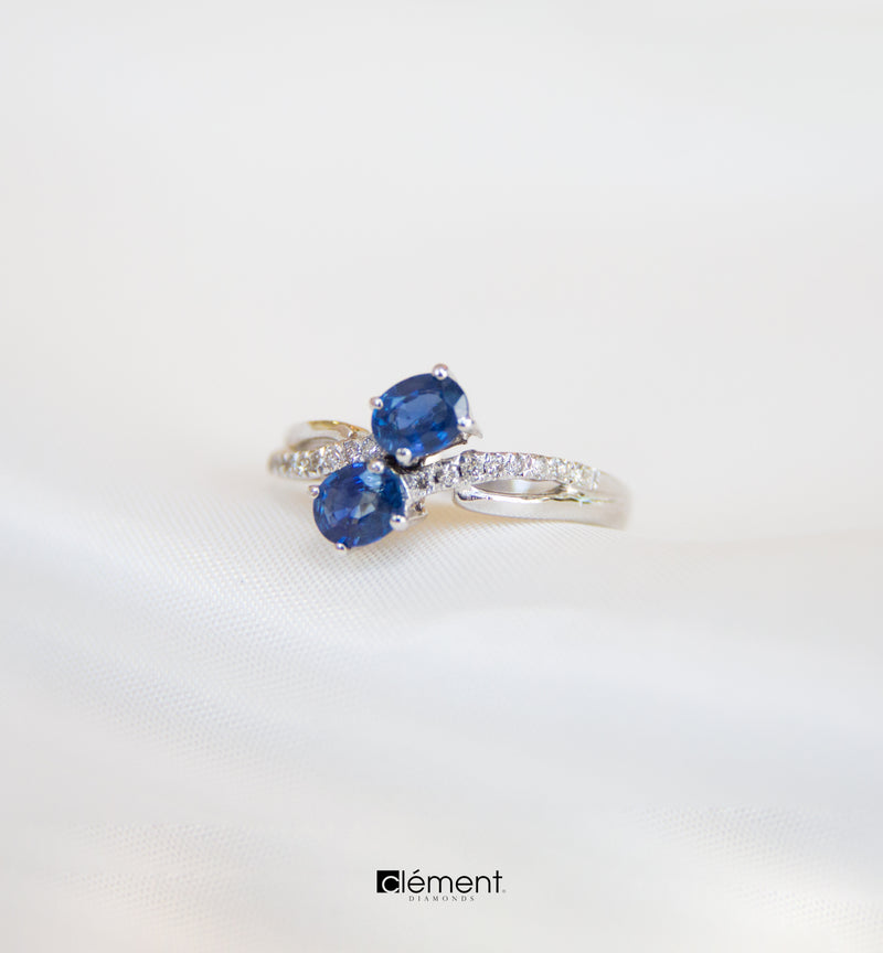 18ct White Gold Blue Sapphire Diamond Ring