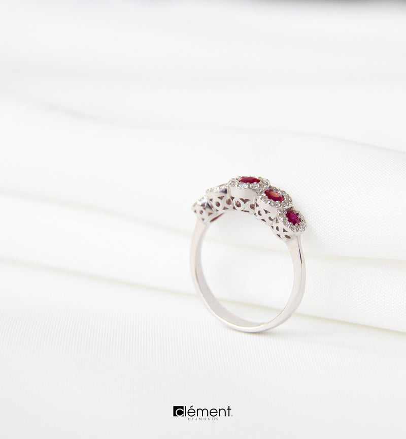 18ct White Gold Diamond Ruby Eternity Ring