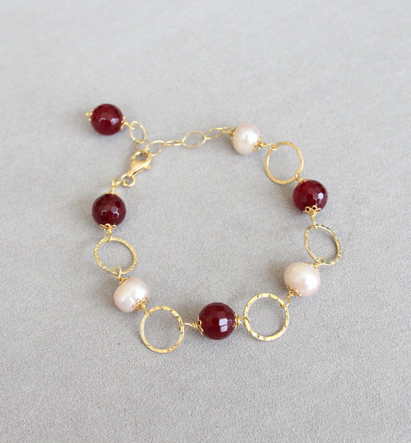 Silver 925 Semi-Precious Stone and Cultured Pearl Bracelet