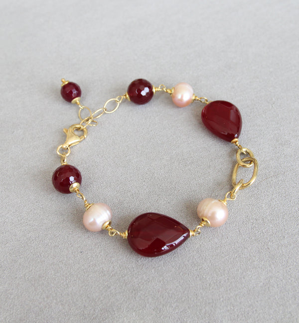 Silver 925 Semi-Precious Stones and Cultured Pearl Bracelet