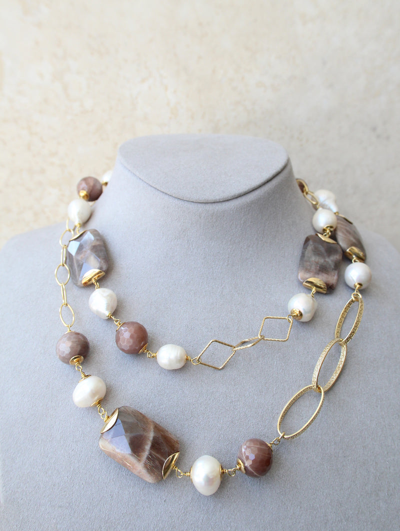 Silver 925 Long Semi-Precious Stones and Fresh Water Cultured Pearl Necklace