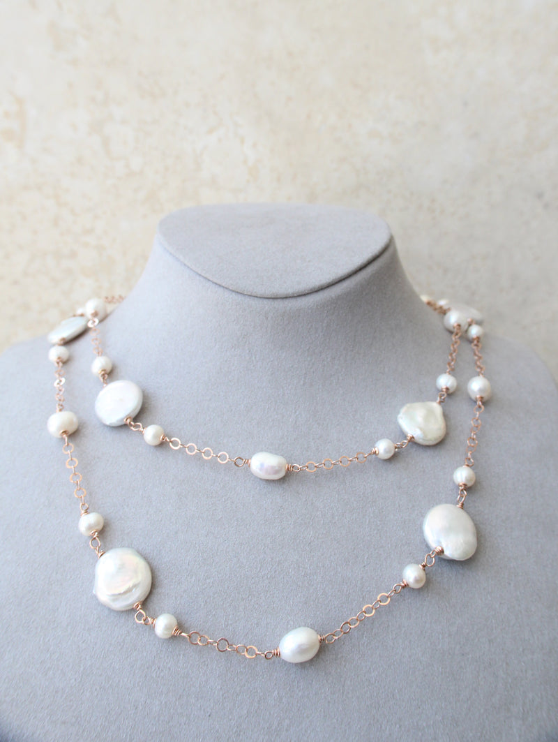 Silver 925 Long Fresh Water Cultured Pearl Necklace