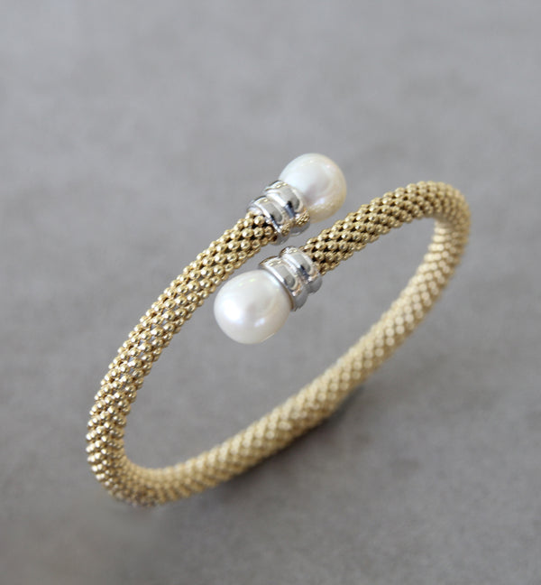 Silver 925 Bangle with Pearls