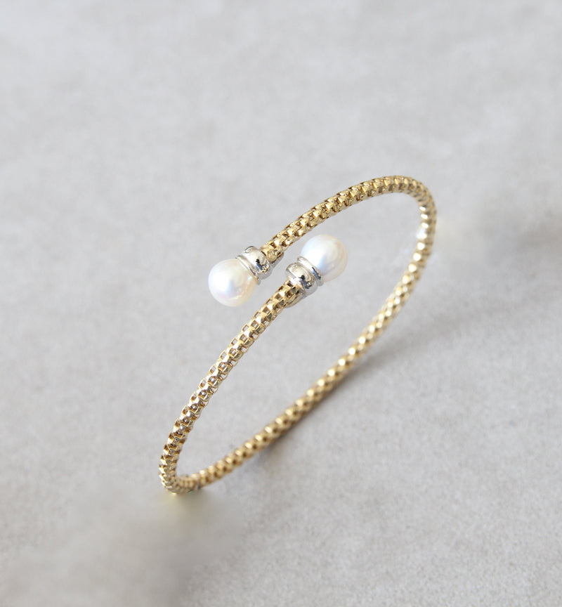 Silver 925 Bangle with Cultured Pearl