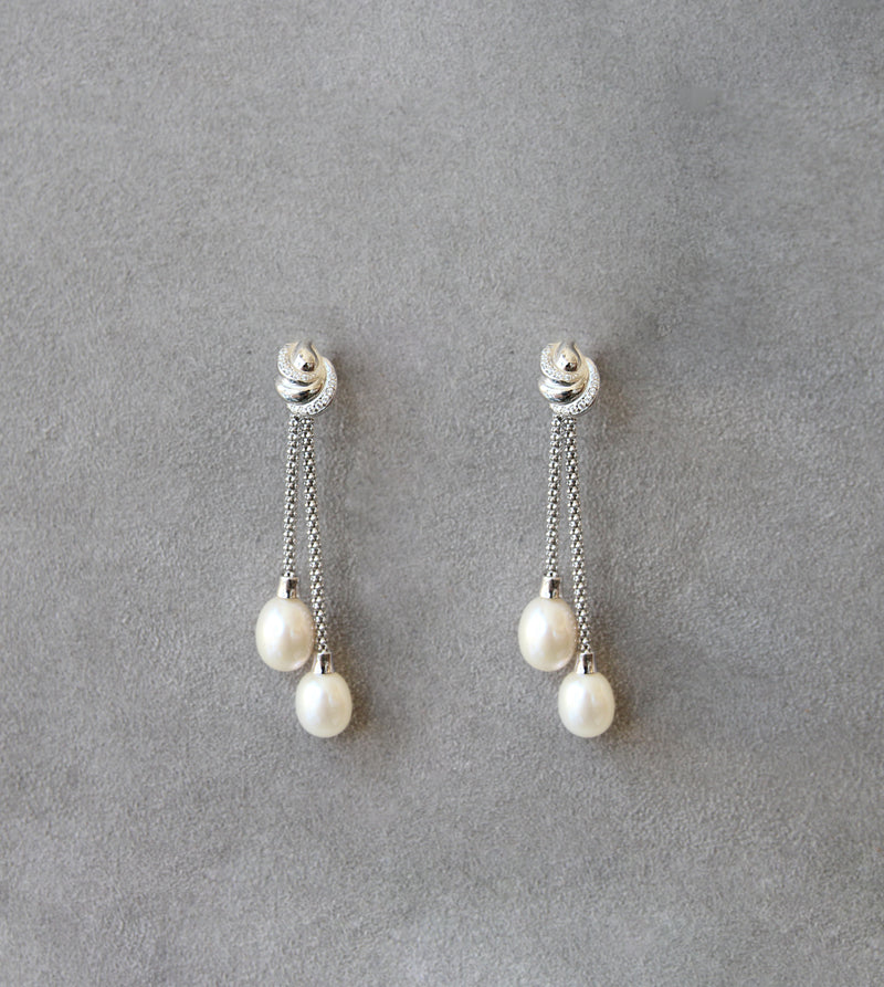 Silver 925 Earrings with Cultured Pearls