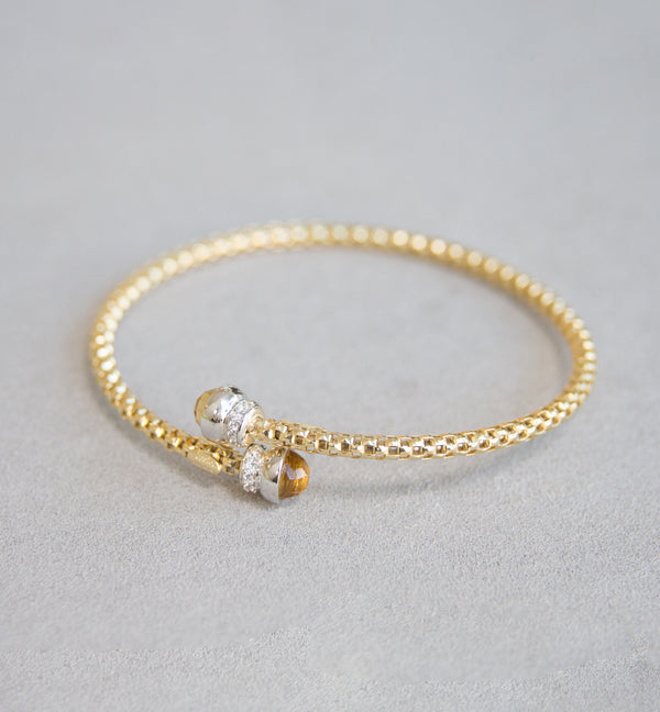 Silver 925 Yellow Gold Bangle
