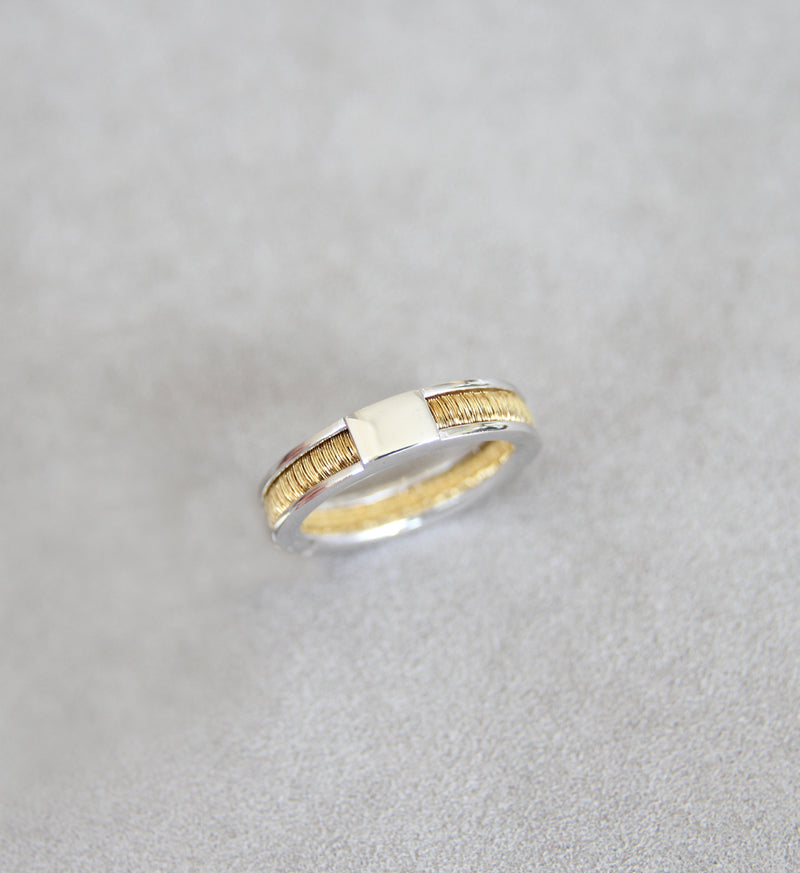 Silver 925 Yellow Gold Ring
