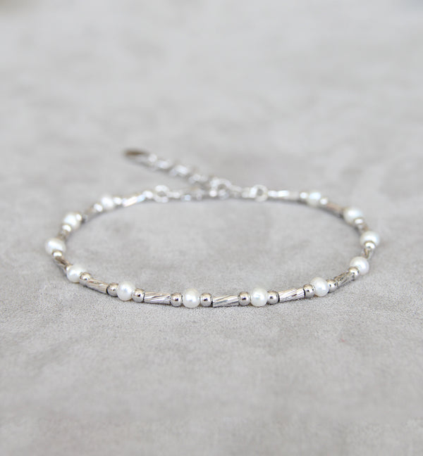 Silver 925 Bracelet with Cultured Pearls