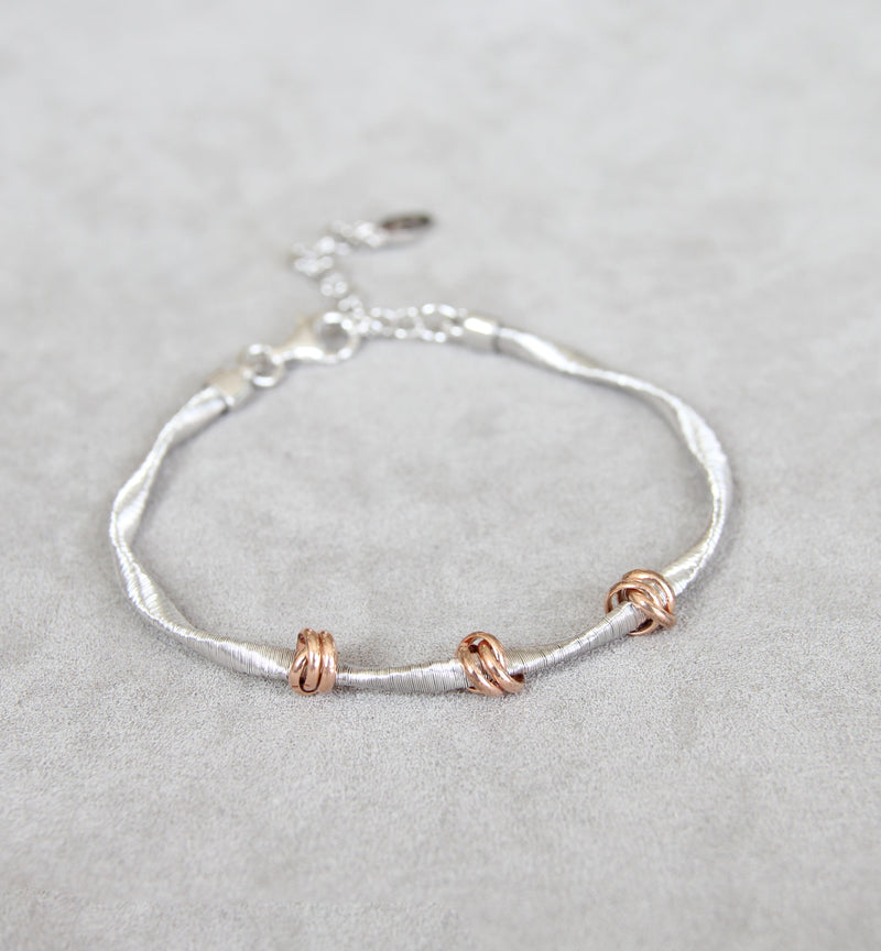 Silver 925 Silver and Rose Gold Bracelet