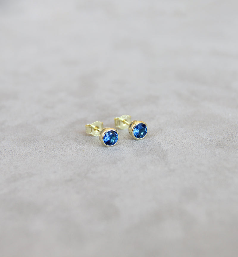 September Blue Sapphire Birthstone Earrings