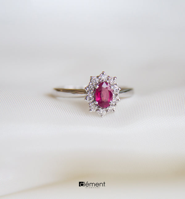 18ct White Gold Diamond & Ruby Ring