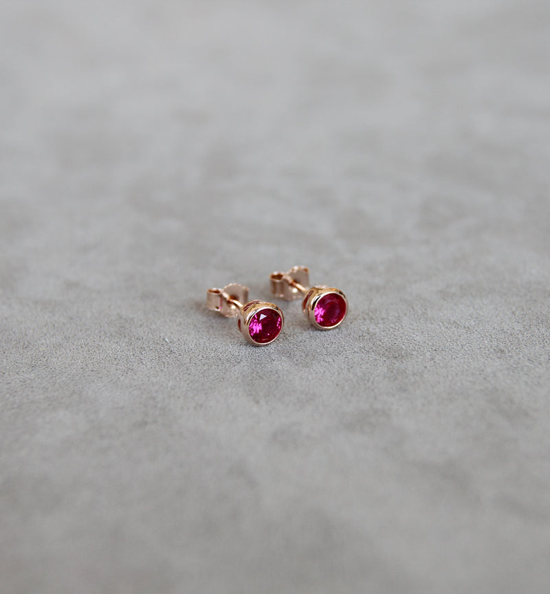 July Ruby Birthstone Earrings