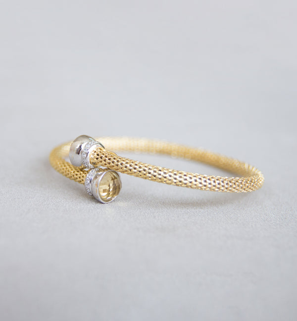 Silver 925 Bangle with Citrine Stone