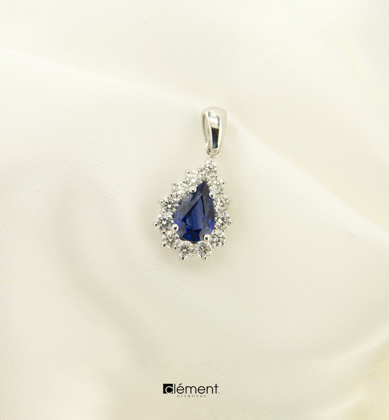 18ct White Gold Natural Blue Sapphire & Diamonds Pendant